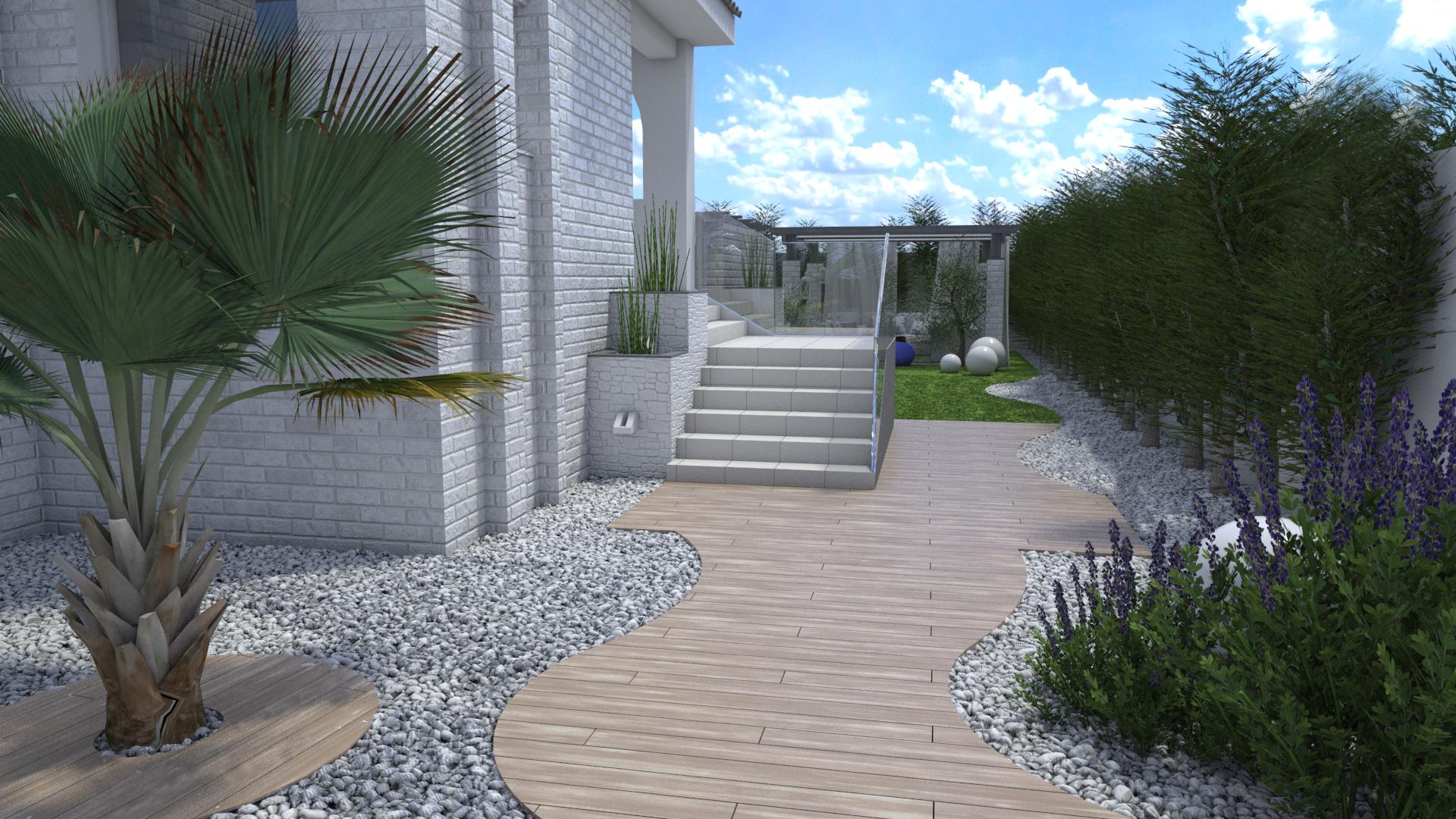 Proyecto De Exterior Y Paisajismo De Una Casa Familiar Con
